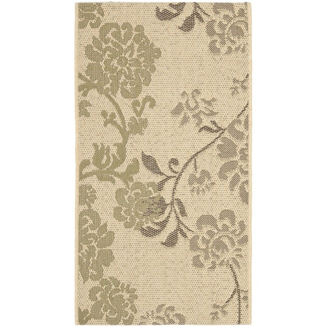 Safavieh Courtyard Floral Natural Brown/ Olive Green Indoor/ Outdoor Rug (2' x 3'7)