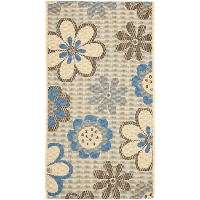 Safavieh Courtyard Flowers Natural/ Blue Indoor/ Outdoor Rug (2' x 3'7)