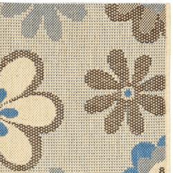 Safavieh Courtyard Flowers Natural/ Blue Indoor/ Outdoor Rug (2' x 3'7) - Thumbnail 1