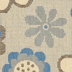 Safavieh Courtyard Flowers Natural/ Blue Indoor/ Outdoor Rug (2' x 3'7) - Thumbnail 2