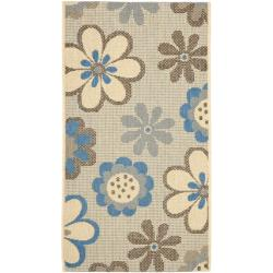 Safavieh Courtyard Flowers Natural/ Blue Indoor/ Outdoor Rug (2' x 3'7) - Thumbnail 0