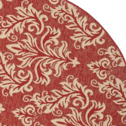 Safavieh Poolside Red/ Cream Indoor/ Outdoor Rug (5'3 Round)