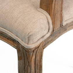 Jules Weathered Hardwood Tufted Beige Arm Chair by Christopher Knight Home