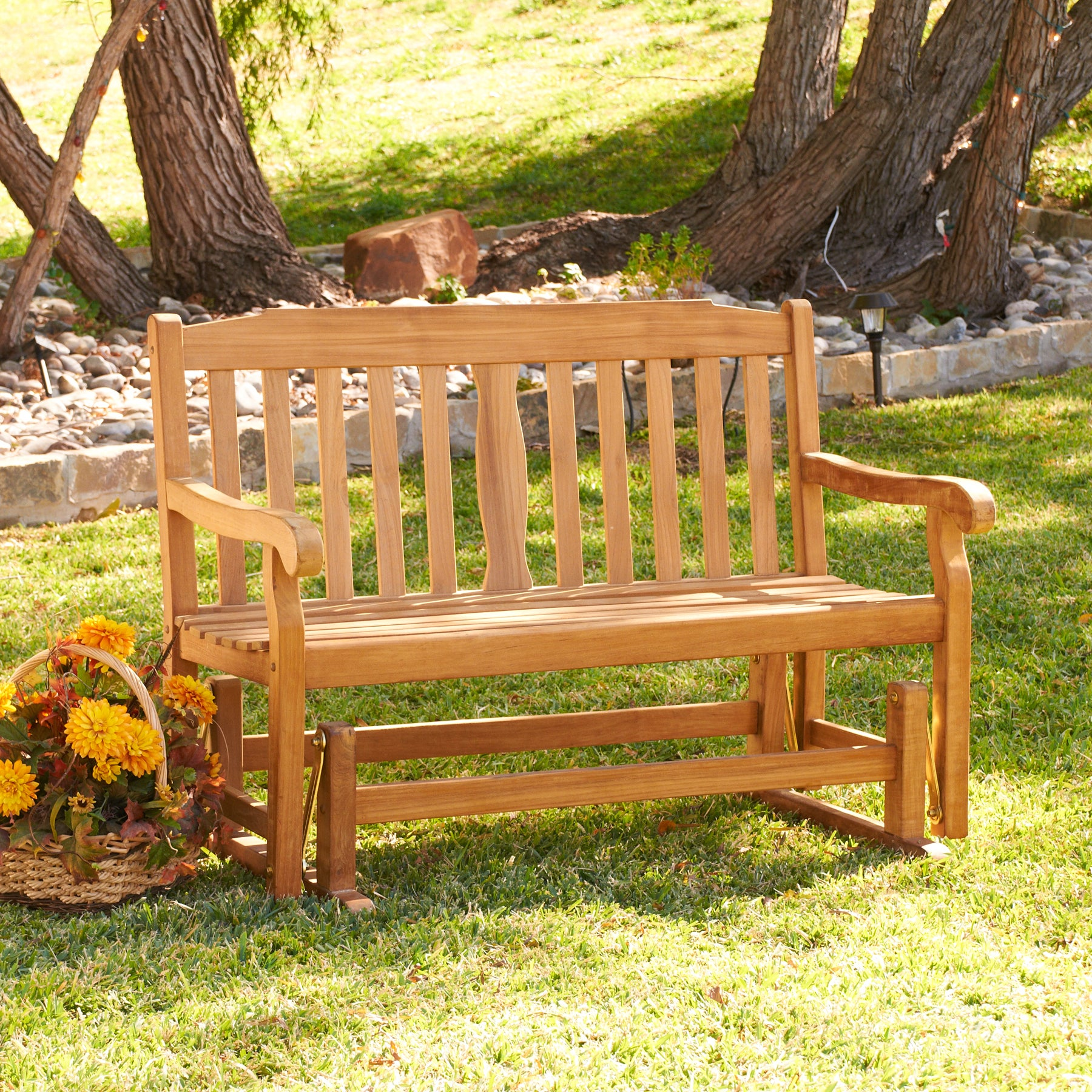 Shop Garden Teak Glider Bench Free Shipping Today Overstock Com