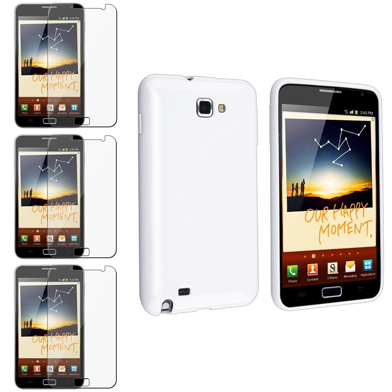 White TPU Rubber Case/ Screen Protectors for Samsung Galaxy Note N7000 - Thumbnail 0