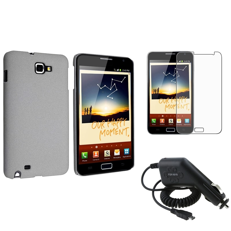 Grey Case/ Car Charger/ LCD Protector for Samsung Galaxy Note N7000