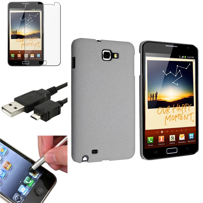 Grey Case/ LCD Protector/ Cable/ Stylus for Samsung Galaxy Note N7000