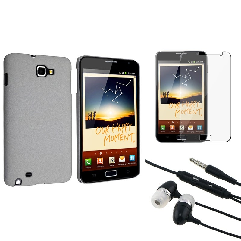 Grey Matte Case/ LCD Protector/ Headset for Samsung Galaxy Note N7000