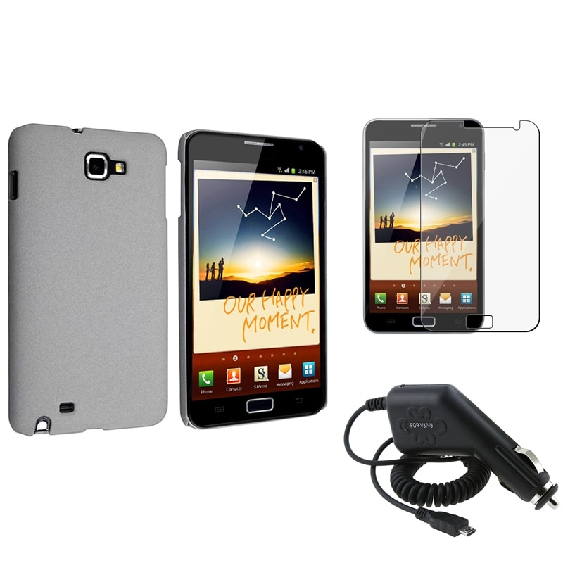 Grey Matte Case/ Charger/ LCD Protector for Samsung Galaxy Note N7000