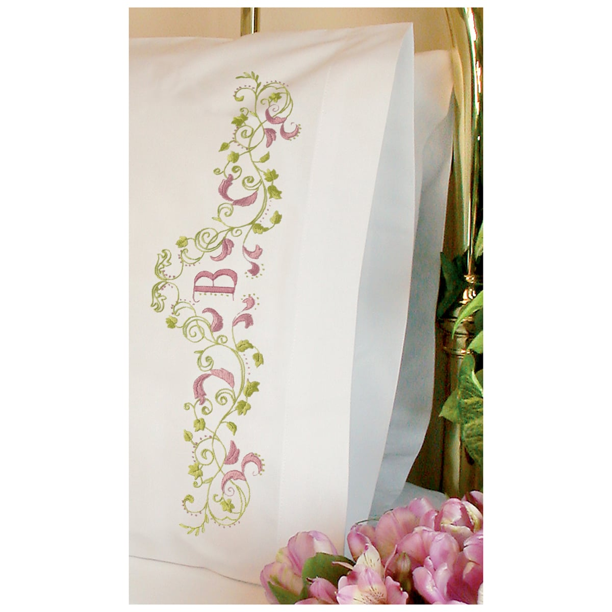 "Elegant Monogram Pillowcase Pair Stamped Embroidery-20""X30"""