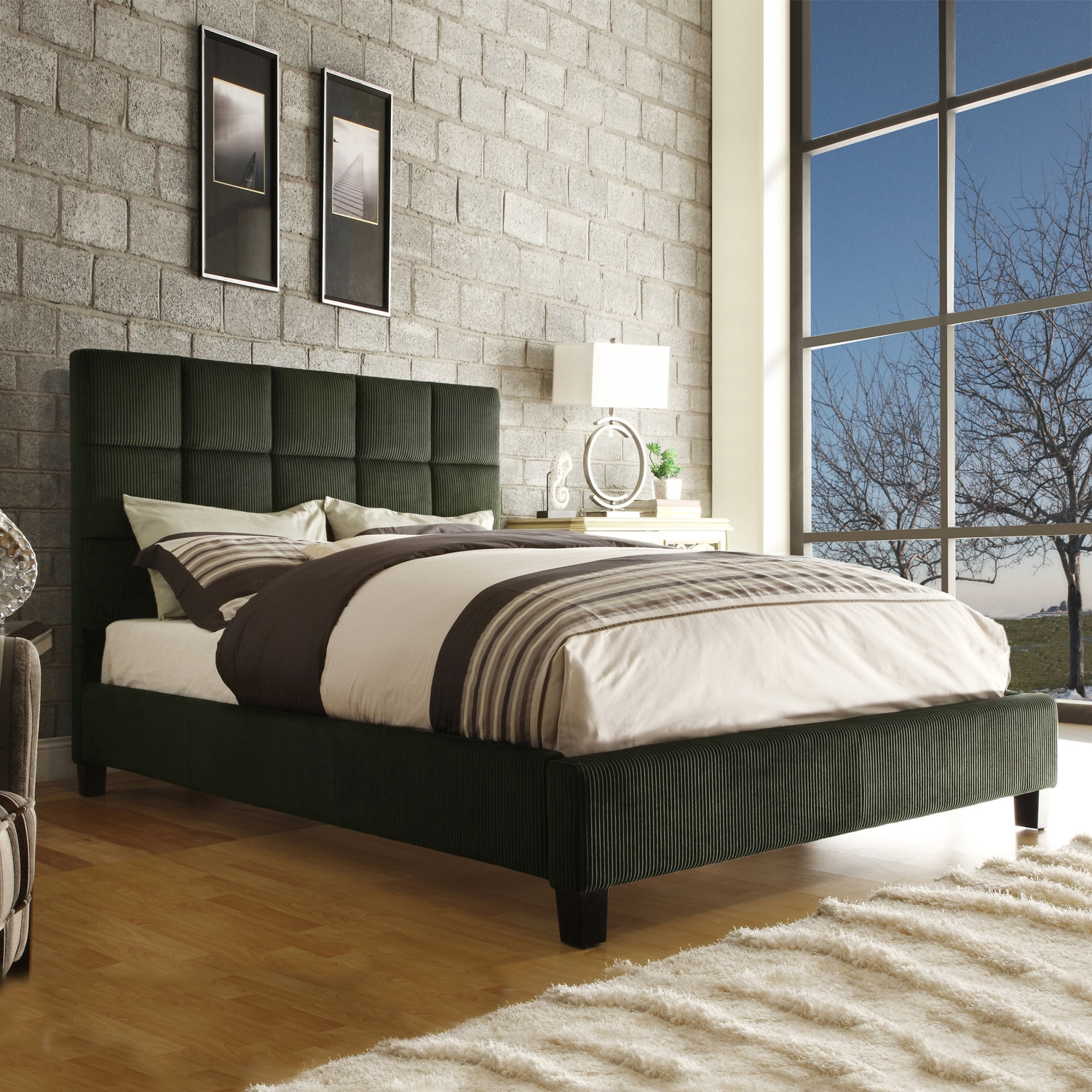 Sarajevo Moss Corduroy Queen Size Bed - Thumbnail 0