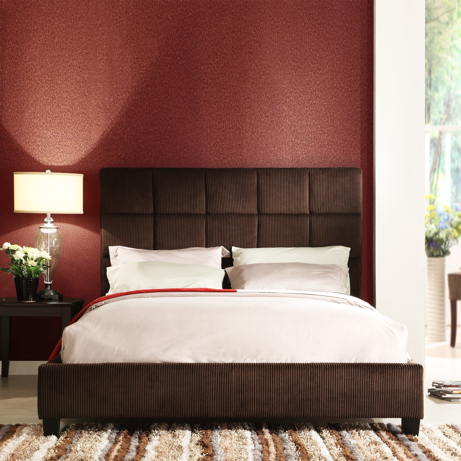 Sarajevo Chocolate Corduroy Full-size Bed - Thumbnail 0
