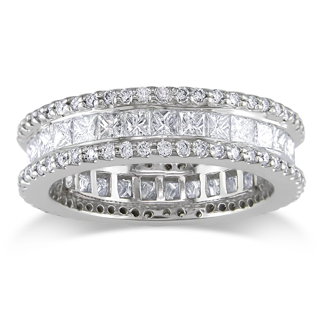 Miadora 18k White Gold 2-3/8ct TDW Diamond Eternity Ring     (Size 8)