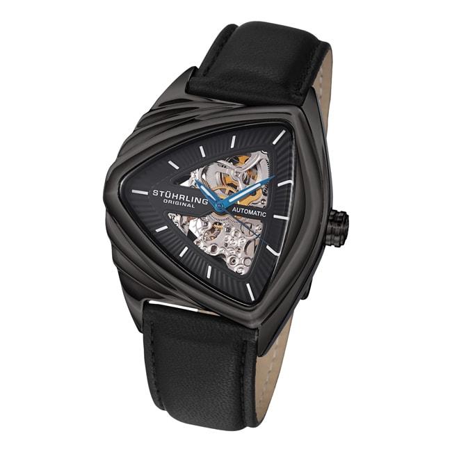 Stuhrling Original Men's 'Ricochet' Automatic Black Leather Strap Watch