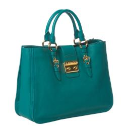 Miu Miu Aqua Leather Briefcase Bag
