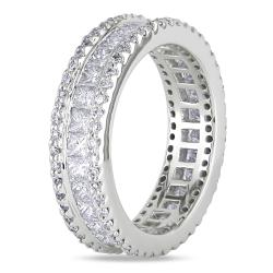 Miadora 18k White Gold 2-3/8ct TDW Diamond Eternity Ring     (Size 8) - Thumbnail 1