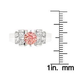 14k White Gold 1-1/5ct TDW Pink Round and Princess Diamond Ring (Size 5.5) - Thumbnail 2
