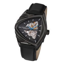 Stuhrling Original Men's 'Ricochet' Automatic Black Leather Strap Watch - Thumbnail 0