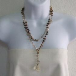 Brown Layer Tiger's Eye Rosary Style Faceted Quartz Pendant Necklace (Thailand)