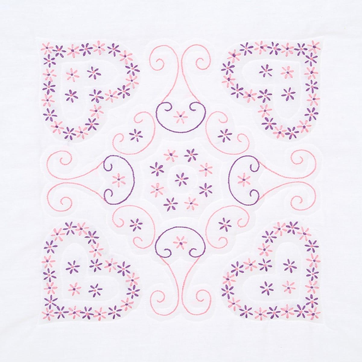 "Stamped White Quilt Blocks 18""X18"" 6/Pkg-Daisy Hearts"