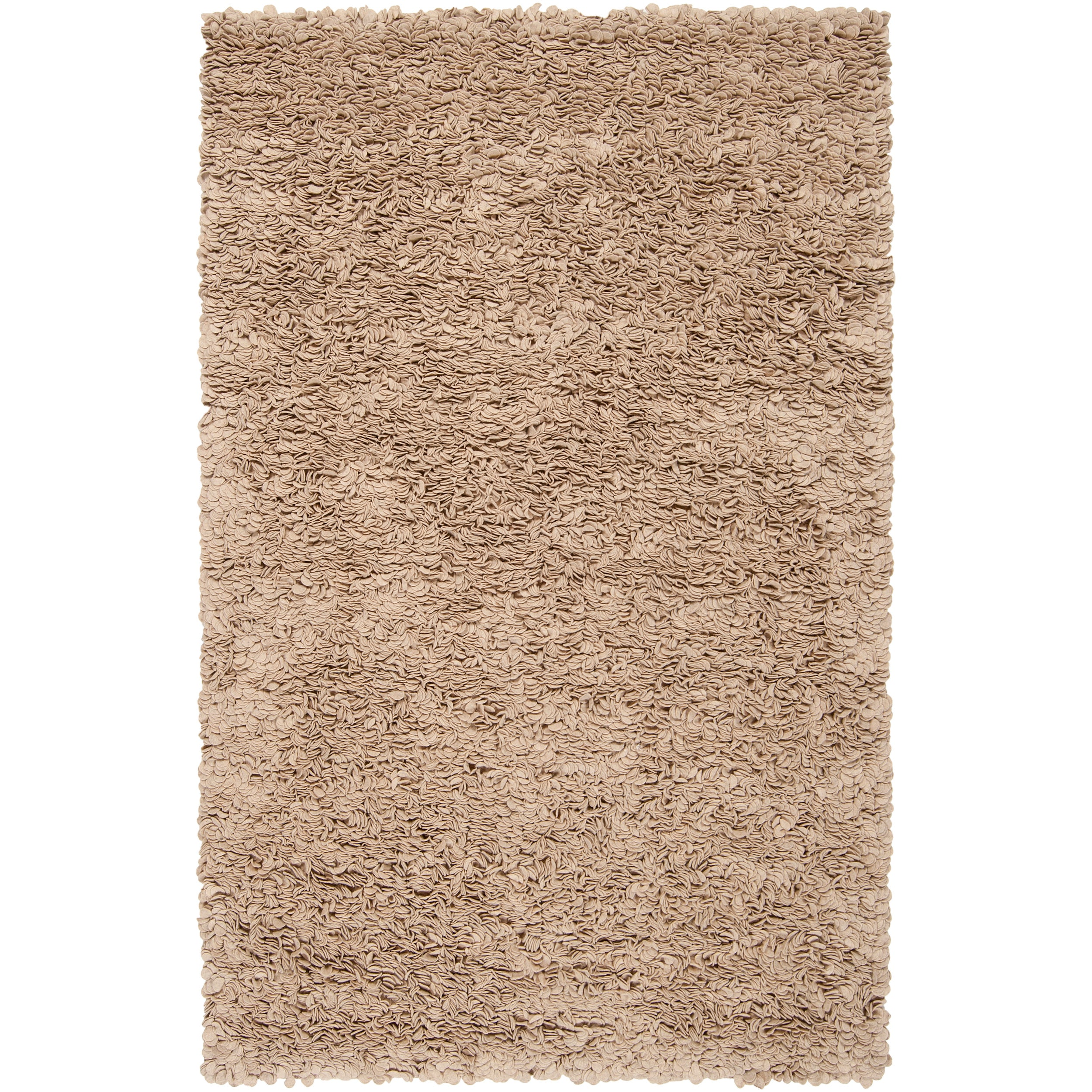 Hand-woven Tan Caparo Street Plush Shag New Zealand Felted Wool Rug (5' x 8')