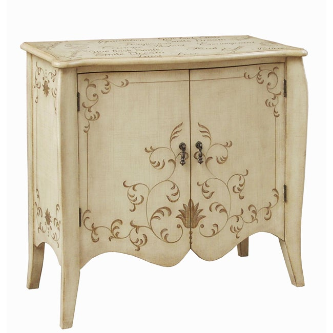 Hand-painted Distressed Cream Accent Chest - Thumbnail 0
