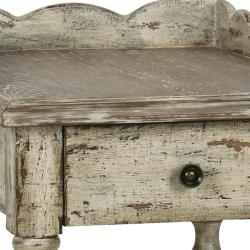 Distressed Vintage Cream Accent Table - Thumbnail 1