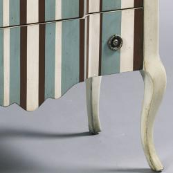 Hand-painted Distressed Cream Stripe Accent Chest
