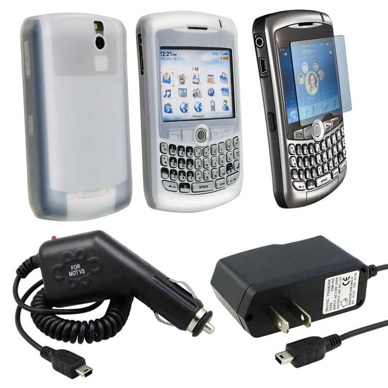 BasAcc Clear Skin/ Protector/ Car/ AC Charger for Blackberry 8300
