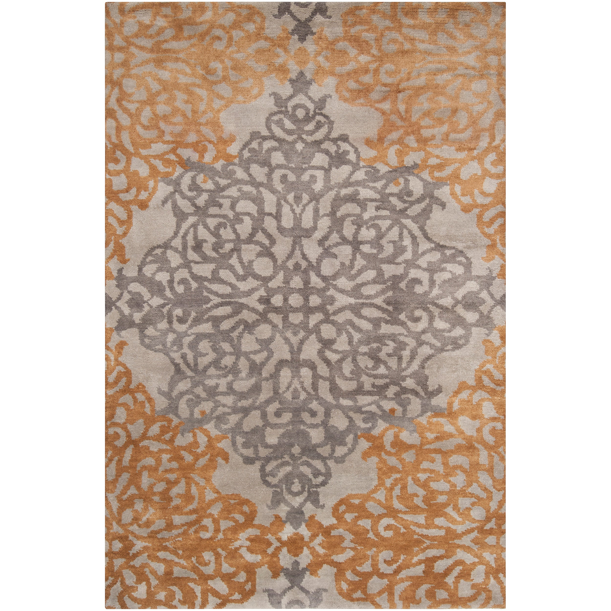 Hand-knotted Gray Castle New Zealand Wool Rug (3'9 x 5'9)...