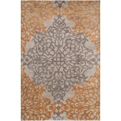 Hand-knotted Gray Castle New Zealand Wool Rug (9' x 13')