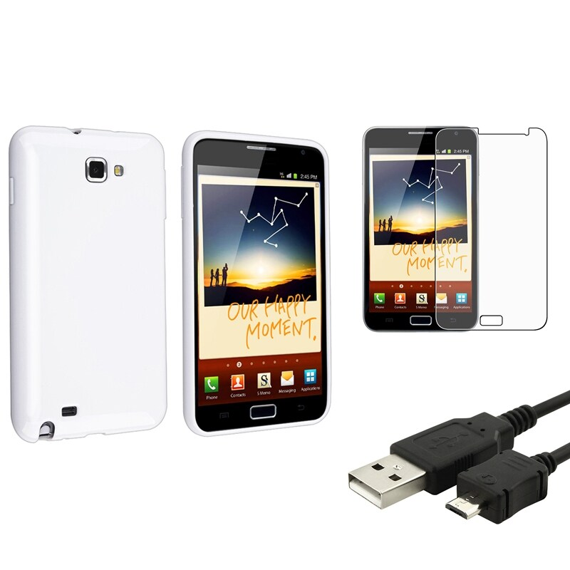 White TPU Case/ LCD Protector/ USB Cable for Samsung Galaxy Note N7000