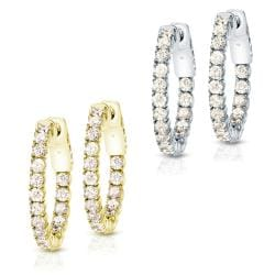 14k Gold 1 3/4ct TDW Diamond Hoop Earrings (J-K, I1-I2)