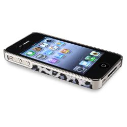 Chrome Silver Leopard Snap-on Case with Stand for Apple iPhone 4/ 4S