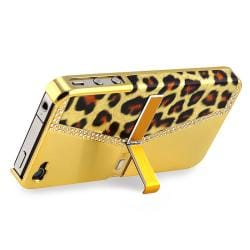 Chrome Golden Leopard Snap-on Case with Stand for Apple iPhone 4/ 4S - Thumbnail 1