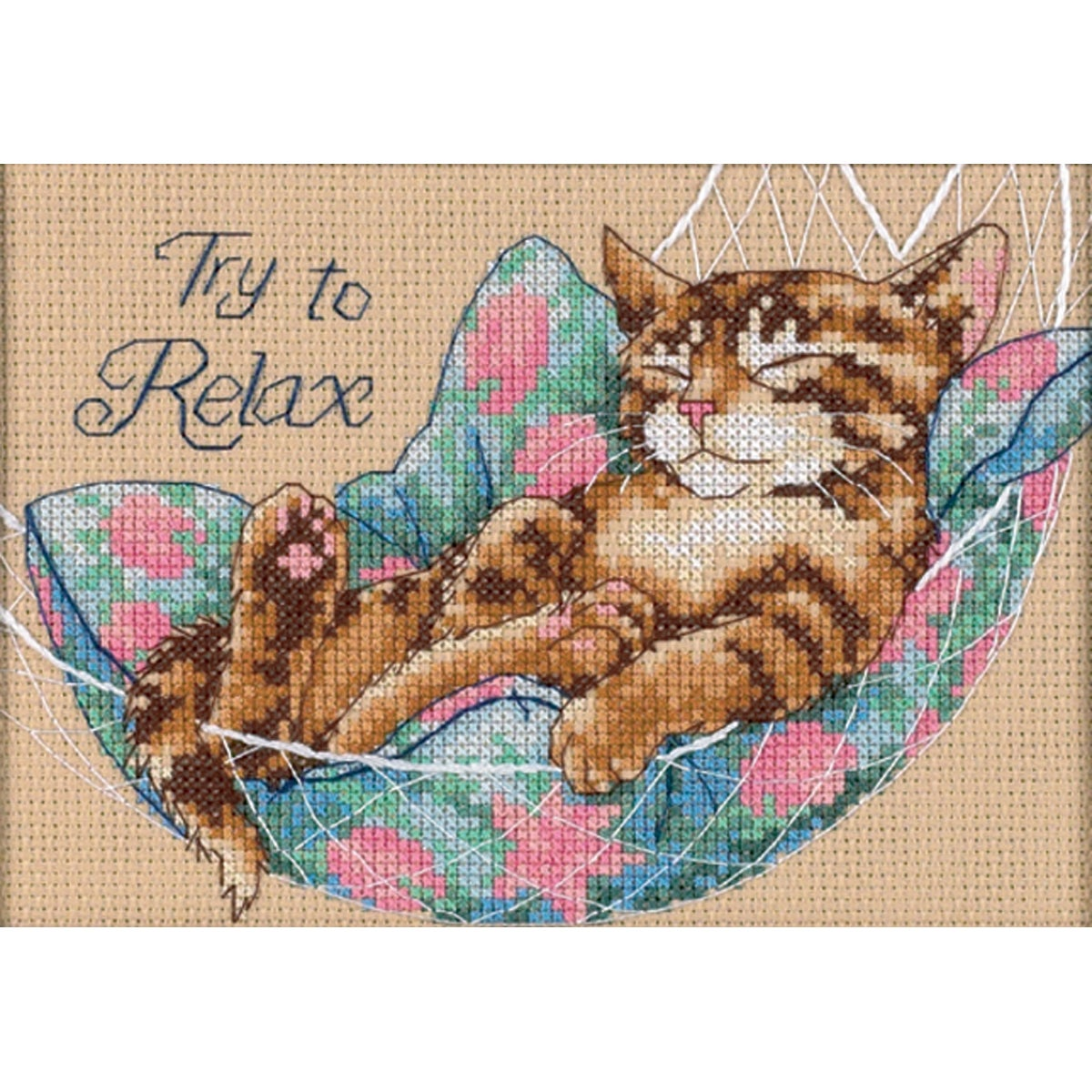 """Try To Relax Mini Counted Cross Stitch Kit-7""""X5"""""""