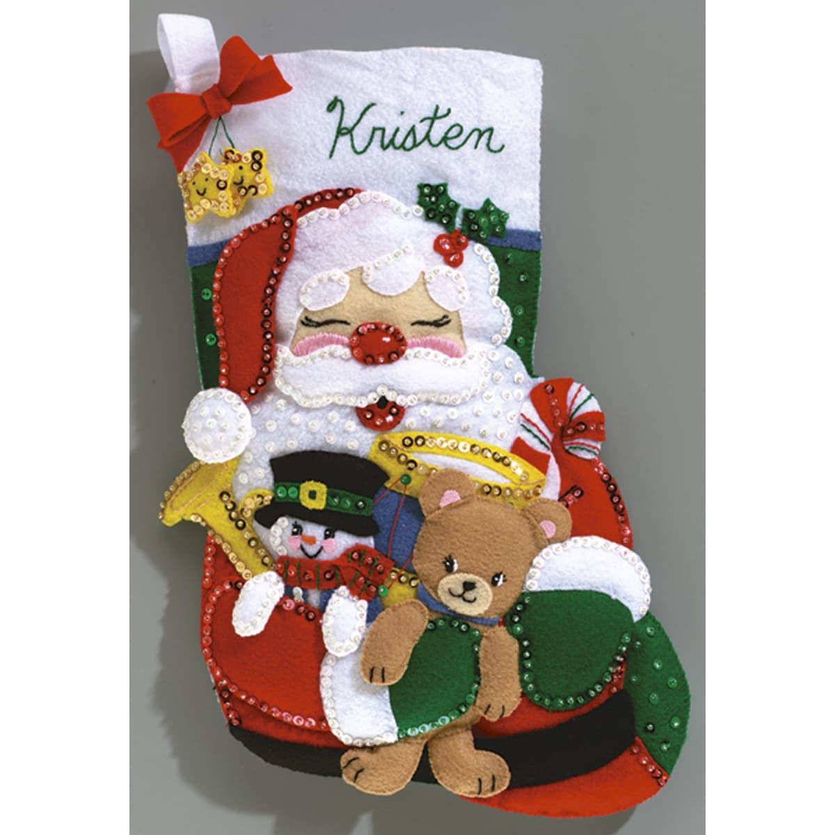 "Toys From Santa Stocking Felt Applique Kit-16-1/2"" Long"