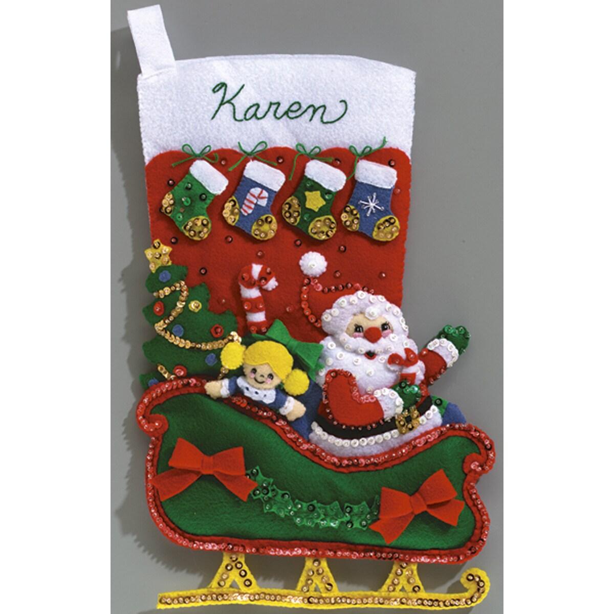 "Holiday Santa Stocking Felt Applique Kit-16-1/2"" Long"