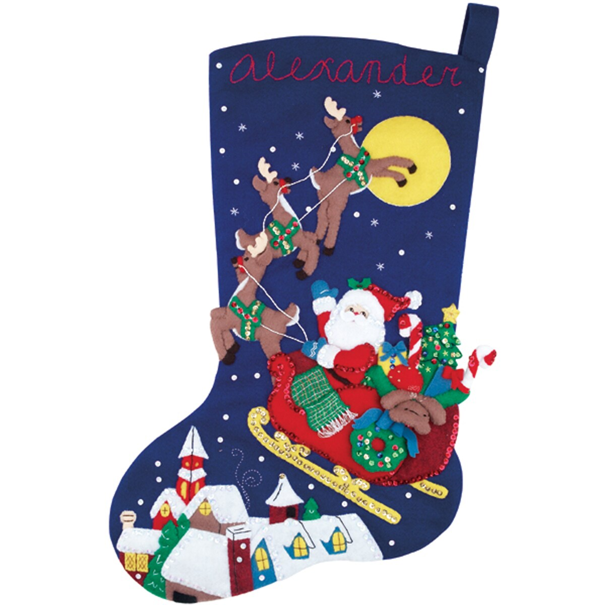 "Over The Rooftops Stocking Felt Applique Kit-23"" Long"