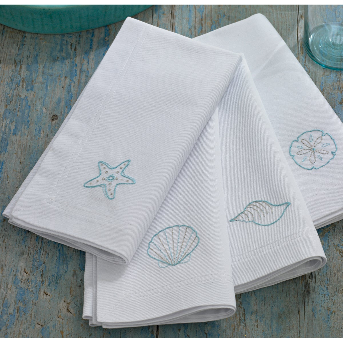 Martha Stewart Napkins Stamped Embroidery Kit-Shells 4/Pkg