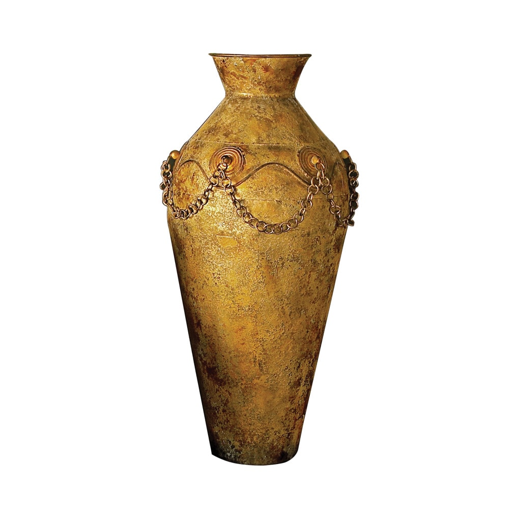 Large Metal Vase with Chain Detail
