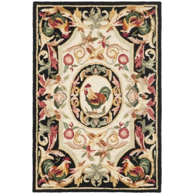 Safavieh Hand-hooked Rooster Ivory/ Black Wool Rug (1'8 x 2'6)