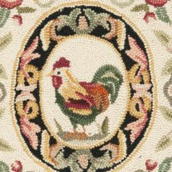 Safavieh Hand-hooked Rooster Ivory/ Black Wool Rug (1'8 x 2'6)