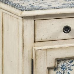 Hand-painted Distressed Cream Accent Chest - Thumbnail 1