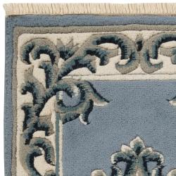 Hand-knotted Blue Grante Wool Rug (2' x 3')