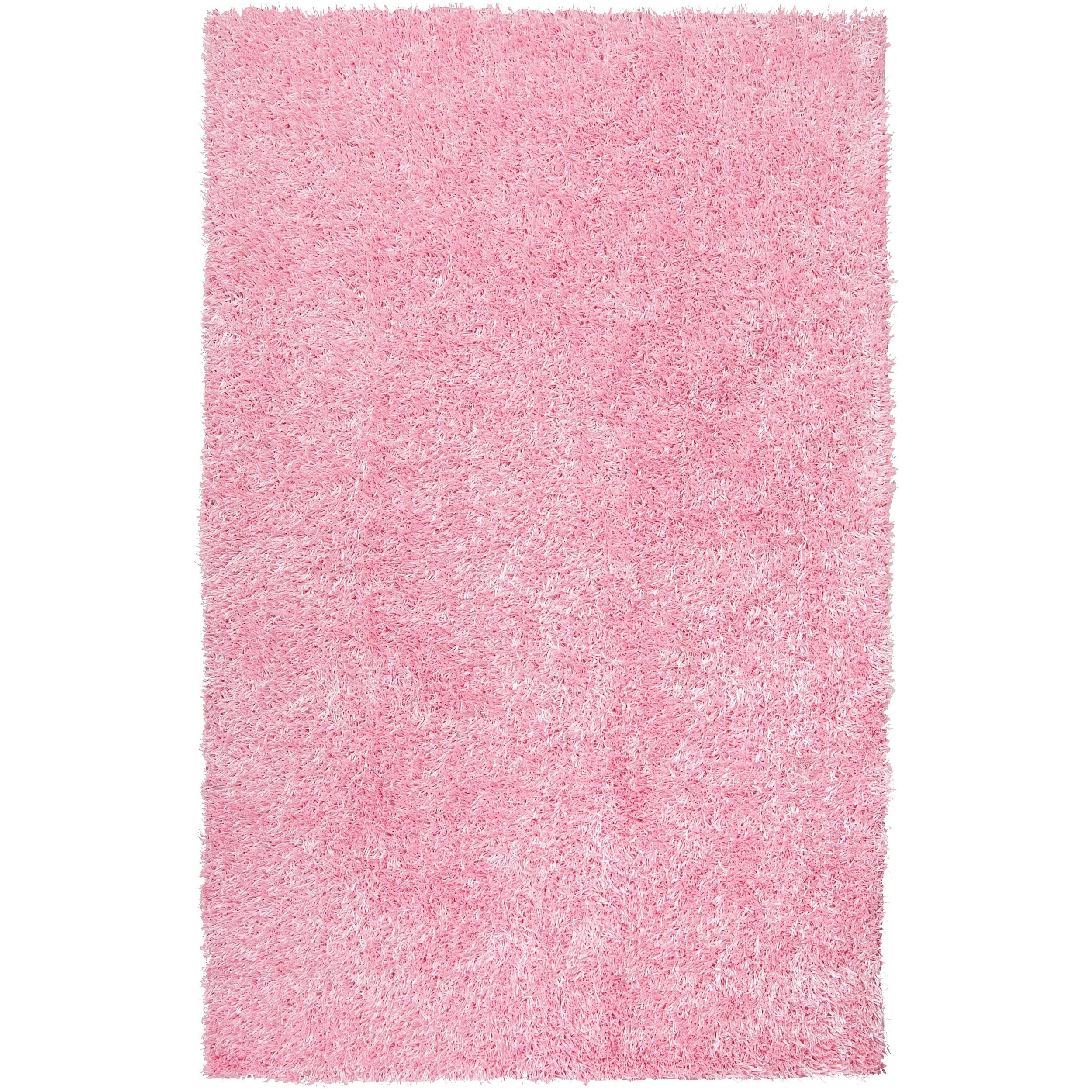 Hand-woven Pink Ferta Soft Shag Rug (5' x 8')