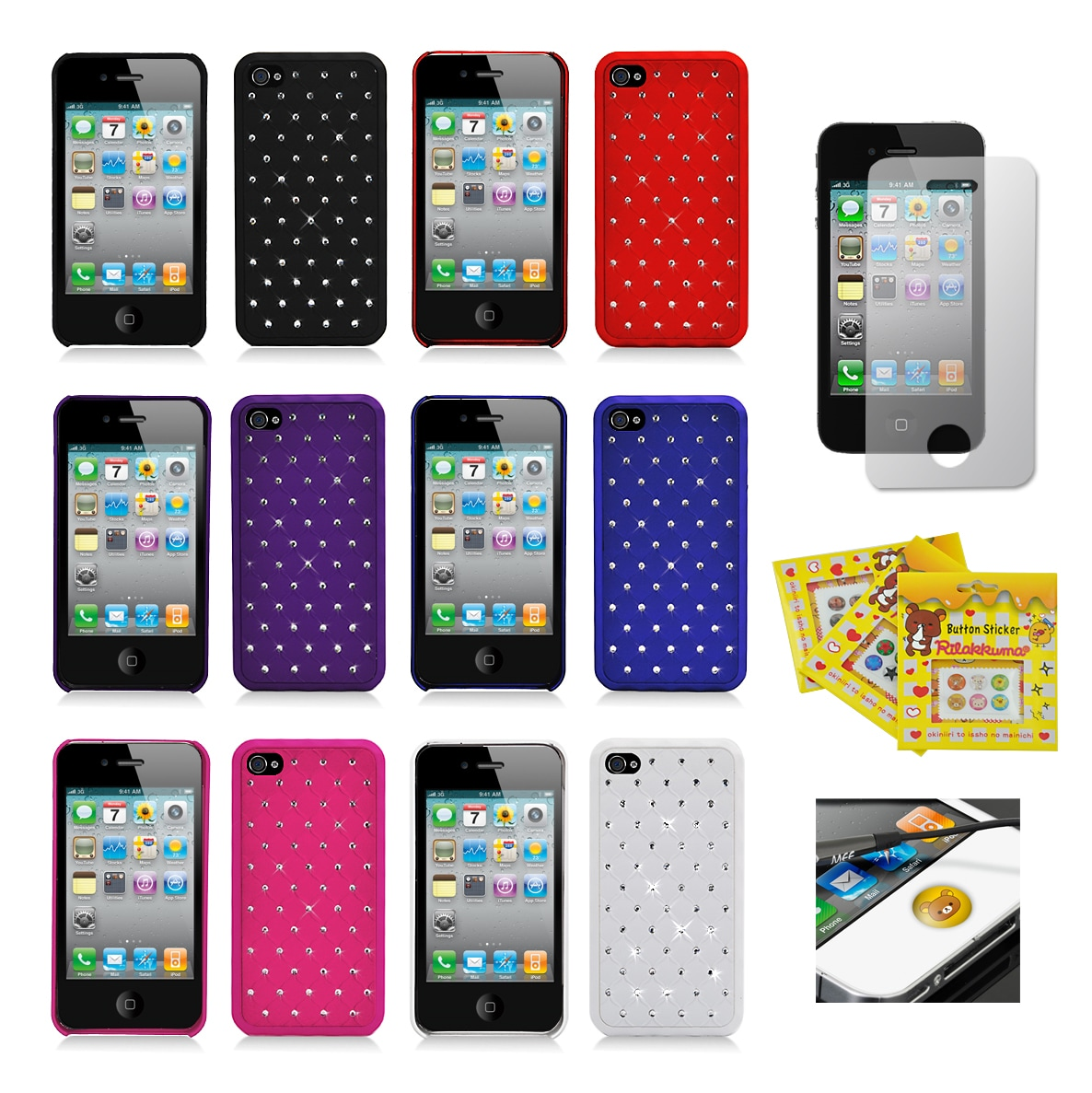 Apple iPhone 4/ 4S Sparkling Rhinestone Rubberized Designer Case - Thumbnail 0