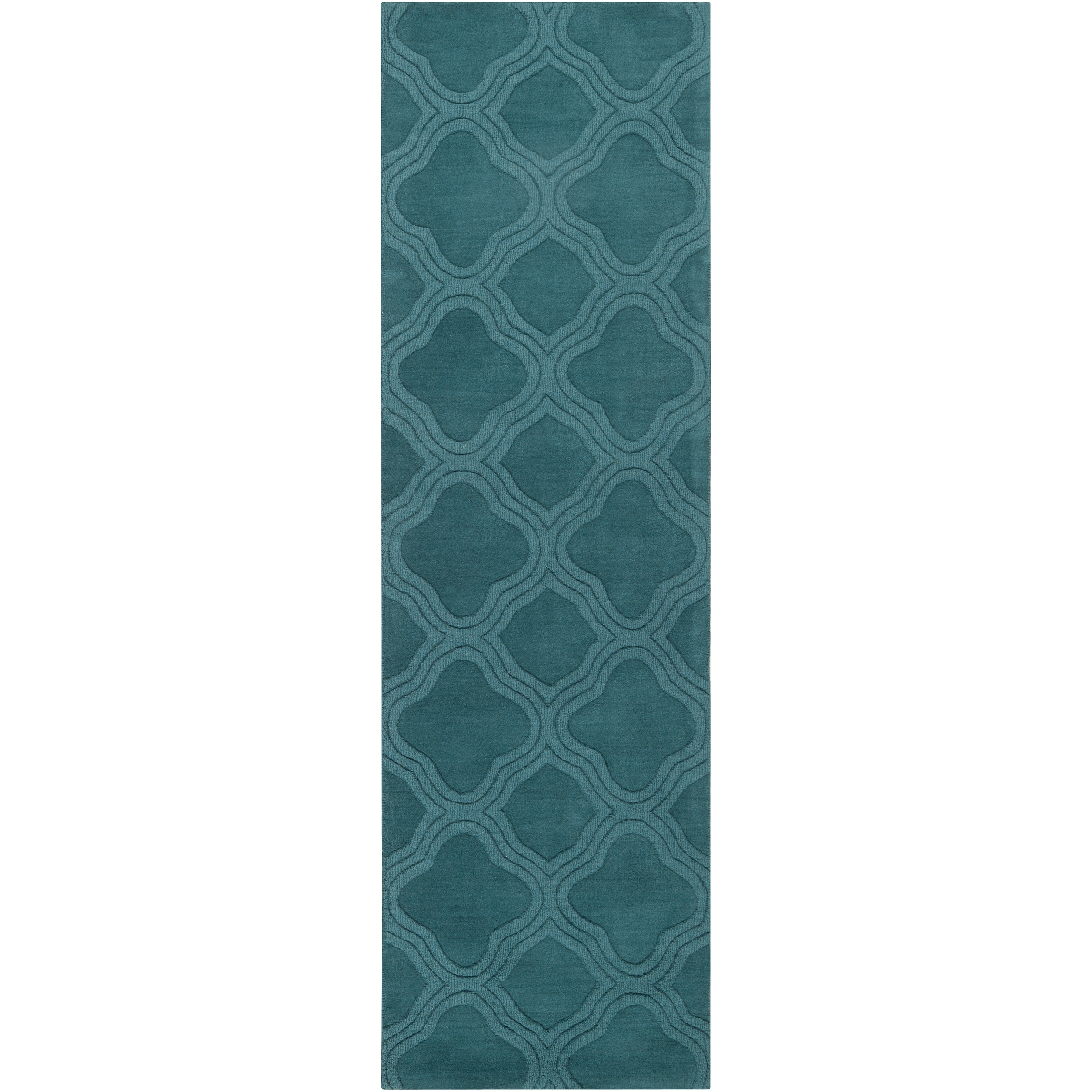 Hand-crafted Green Mantra Wool Rug (2'6 x 8')