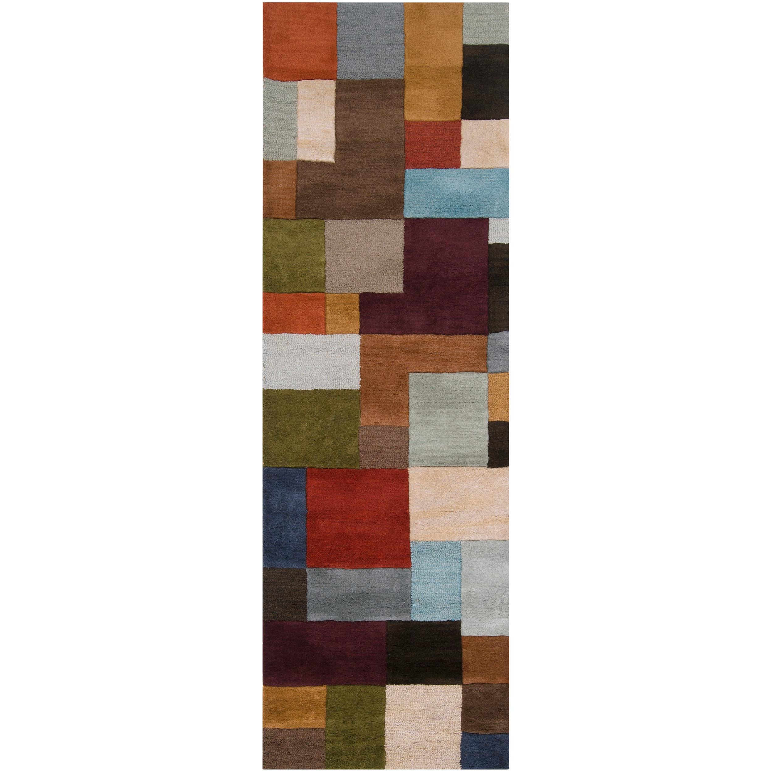 Hand-tufted Tan Oakland Avenue A Geometric Wool Rug (2'6 x 8')