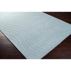 Somerset Bay Loomed Blue South Hampton Geometric Waves Wool Rug (3'3 x 5'3) - Thumbnail 1